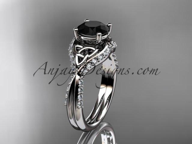 platinum diamond celtic trinity knot wedding ring, engagement ring with a Black Diamond center stone CT7224 - AnjaysDesigns