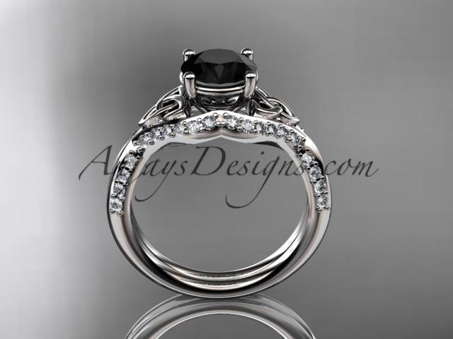 14kt white gold diamond celtic trinity knot wedding ring, engagement ring with a Black Diamond center stone CT7224 - AnjaysDesigns