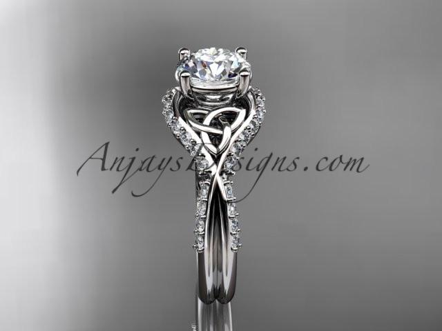 "platinum diamond celtic trinity knot wedding ring, engagement ring with a ""Forever One"" Moissanite center stone CT7224 - AnjaysDesigns"