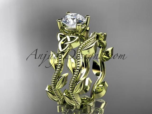 "14kt yellow gold diamond celtic trinity knot wedding ring, engagement set with a ""Forever One"" Moissanite center stone CT7238S - AnjaysDesigns"