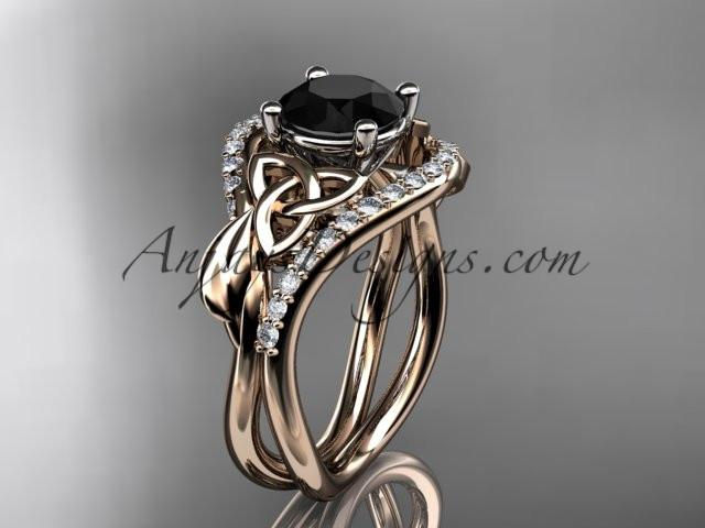 14kt rose gold diamond celtic trinity knot wedding ring, engagement ring with a Black Diamond center stone CT7244 - AnjaysDesigns