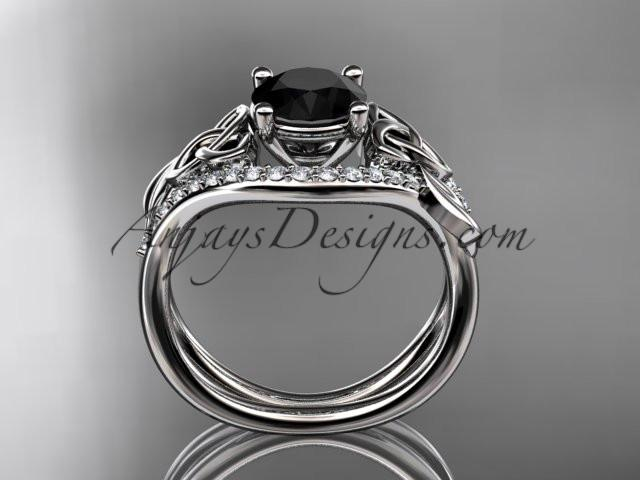 platinum diamond celtic trinity knot wedding ring, engagement ring with a Black Diamond center stone CT7244 - AnjaysDesigns