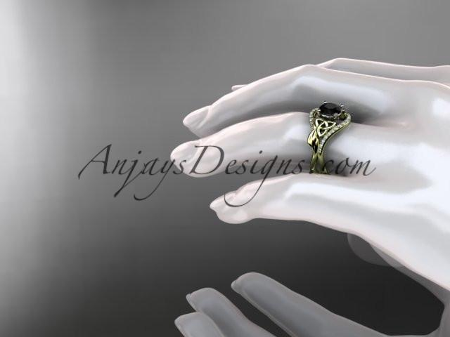 14kt yellow gold diamond celtic trinity knot wedding ring, engagement ring with a Black Diamond center stone CT7244 - AnjaysDesigns