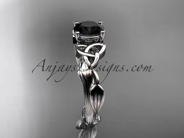 platinum diamond celtic trinity knot wedding ring, engagement ring with a Black Diamond center stone CT7251 - AnjaysDesigns