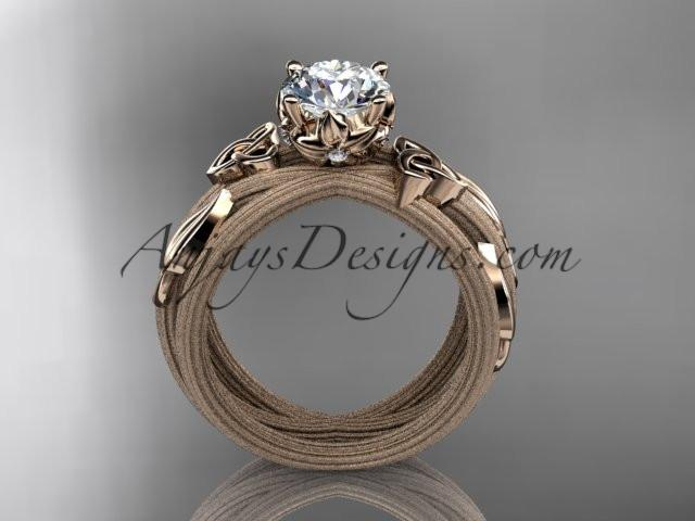 "14kt rose gold diamond celtic trinity knot wedding ring, engagement ring with a ""Forever One"" Moissanite center stone CT7253 - AnjaysDesigns"