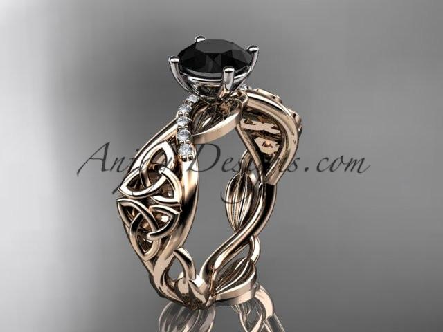 14kt rose gold diamond celtic trinity knot wedding ring, engagement ring with a Black Diamond center stone CT7270 - AnjaysDesigns