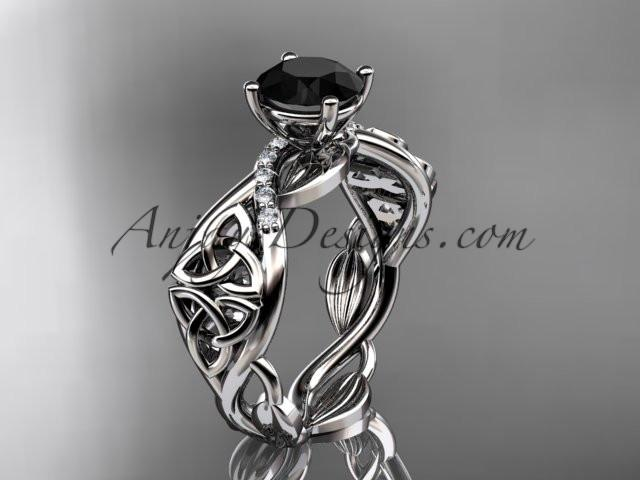 platinum diamond celtic trinity knot wedding ring, engagement ring with a Black Diamond center stone CT7270 - AnjaysDesigns