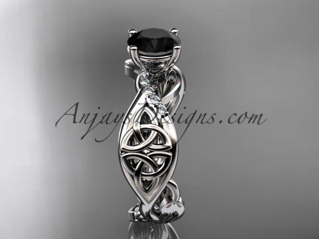 14kt white gold diamond celtic trinity knot wedding ring, engagement ring with a Black Diamond center stone CT7270 - AnjaysDesigns