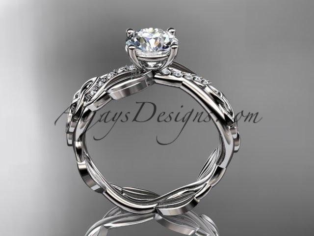 "platinum diamond celtic trinity knot wedding ring, engagement ring with a ""Forever One"" Moissanite center stone CT7270 - AnjaysDesigns"
