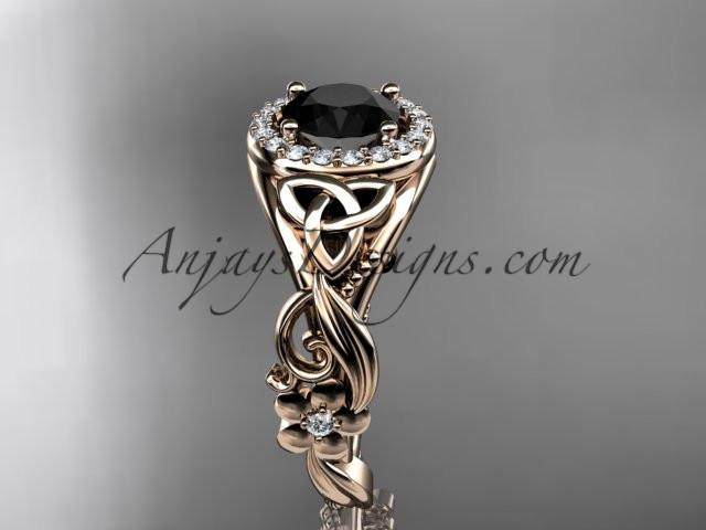 14kt rose gold diamond celtic trinity knot wedding ring, engagement ring with a Black Diamond center stone CT7300 - AnjaysDesigns
