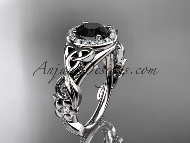 platinum diamond celtic trinity knot wedding ring, engagement ring with a Black Diamond center stone CT7300 - AnjaysDesigns