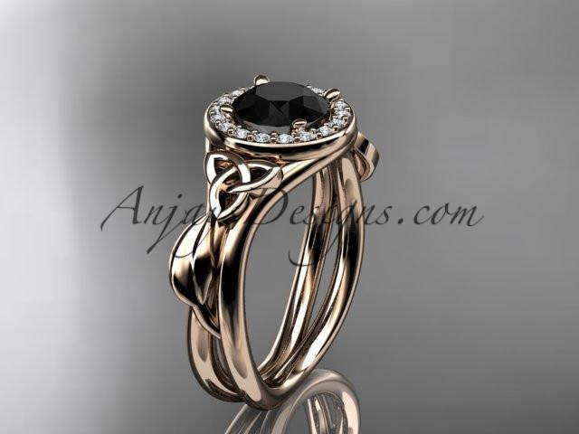 14kt rose gold diamond celtic trinity knot wedding ring, engagement ring with a Black Diamond center stone CT7314 - AnjaysDesigns
