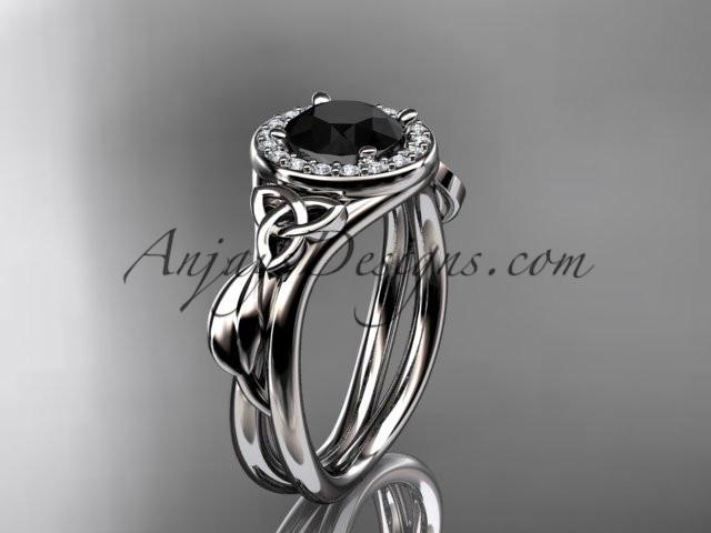platinum diamond celtic trinity knot wedding ring, engagement ring with a Black Diamond center stone CT7314 - AnjaysDesigns