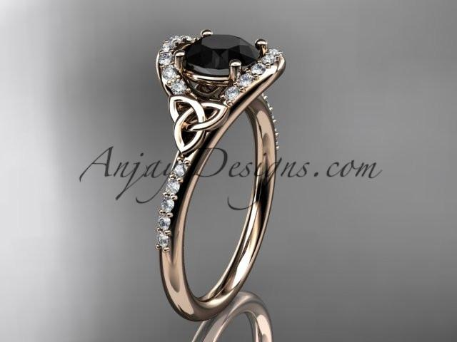 14kt rose gold diamond celtic trinity knot wedding ring, engagement ring with a Black Diamond center stone CT7317 - AnjaysDesigns