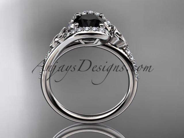 platinum diamond celtic trinity knot wedding ring, engagement ring with a Black Diamond center stone CT7317 - AnjaysDesigns