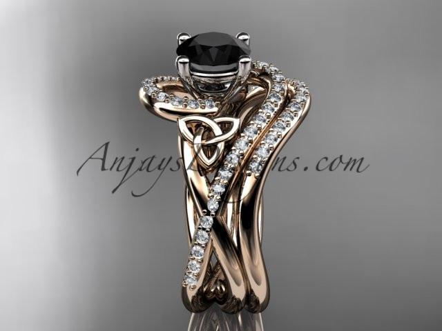 14kt rose gold diamond celtic trinity knot wedding ring, engagement set with a Black Diamond center stone CT7320S - AnjaysDesigns