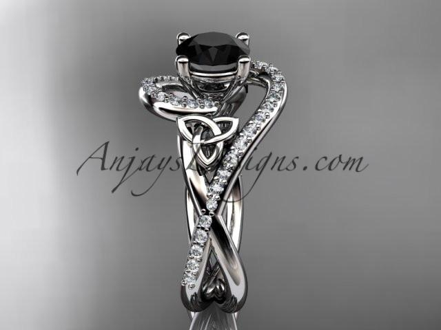 platinum diamond celtic trinity knot wedding ring, engagement ring with a Black Diamond center stone CT7320 - AnjaysDesigns