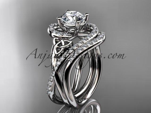 "platinum diamond celtic trinity knot wedding ring, engagement set with a ""Forever One"" Moissanite center stone CT7320S - AnjaysDesigns"