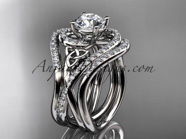 "platinum diamond celtic trinity knot wedding ring, engagement ring with a ""Forever One"" Moissanite center stone and double matching band CT7320S - AnjaysDesigns"