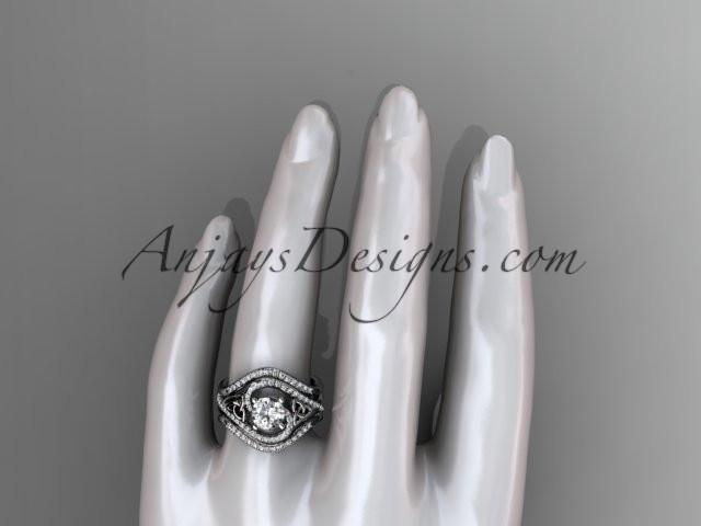 platinum diamond celtic trinity knot wedding ring, engagement ring with double matching band CT7320S - AnjaysDesigns