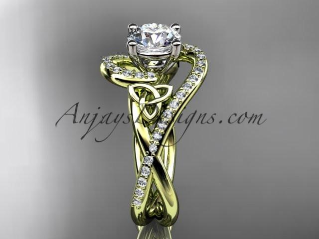 "14kt yellow gold diamond celtic trinity knot wedding ring, engagement ring with a ""Forever One"" Moissanite center stone CT7320 - AnjaysDesigns"