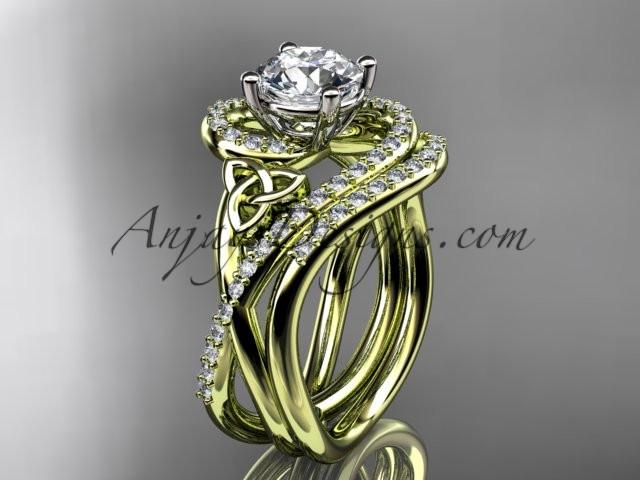 "14kt yellow gold diamond celtic trinity knot wedding ring, engagement set with a ""Forever One"" Moissanite center stone CT7320S - AnjaysDesigns"