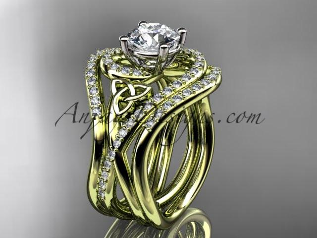 "14kt yellow gold diamond celtic trinity knot wedding ring, engagement ring with a ""Forever One"" Moissanite center stone and double matching band CT7320S - AnjaysDesigns"