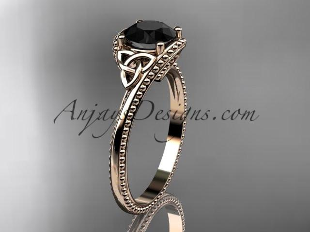 14kt rose gold celtic trinity knot wedding ring, engagement ring with a Black Diamond center stone CT7322 - AnjaysDesigns