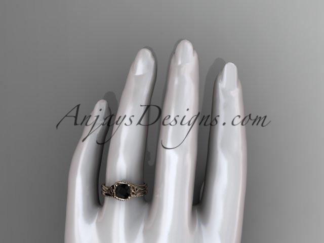 14kt rose gold celtic trinity knot wedding ring, engagement set with a Black Diamond center stone CT7322S - AnjaysDesigns
