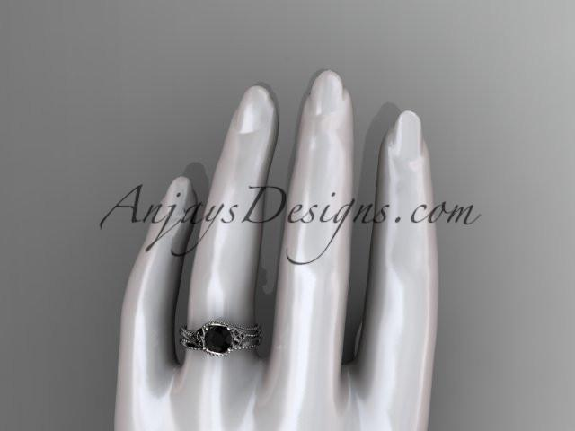14kt white gold celtic trinity knot wedding ring, engagement set with a Black Diamond center stone CT7322S - AnjaysDesigns