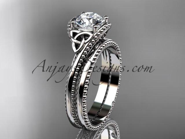 "platinum celtic trinity knot wedding ring, engagement set with a ""Forever One"" Moissanite center stone CT7322S - AnjaysDesigns"