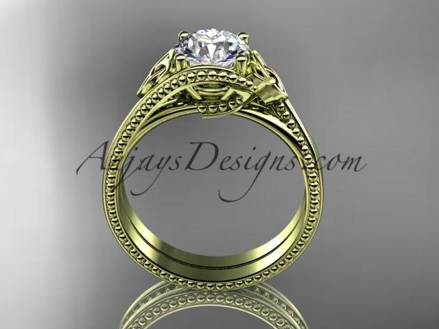 "14kt yellow gold celtic trinity knot wedding ring, engagement set with a ""Forever One"" Moissanite center stone CT7322S - AnjaysDesigns"