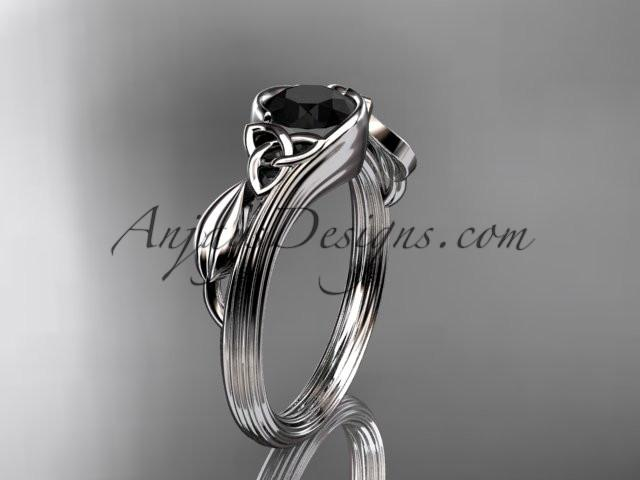 platinum diamond celtic trinity knot wedding ring, engagement ring with a Black Diamond center stone CT7324 - AnjaysDesigns
