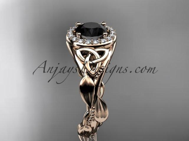 14kt rose gold diamond celtic trinity knot wedding ring, engagement ring with a Black Diamond center stone CT7327 - AnjaysDesigns