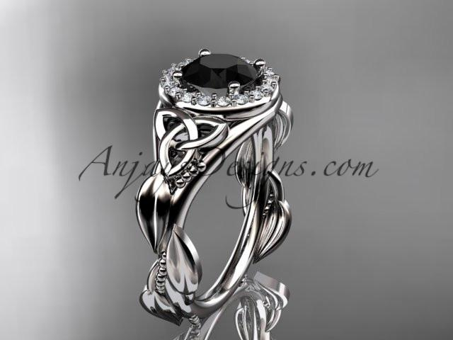platinum diamond celtic trinity knot wedding ring, engagement ring with a Black Diamond center stone CT7327 - AnjaysDesigns