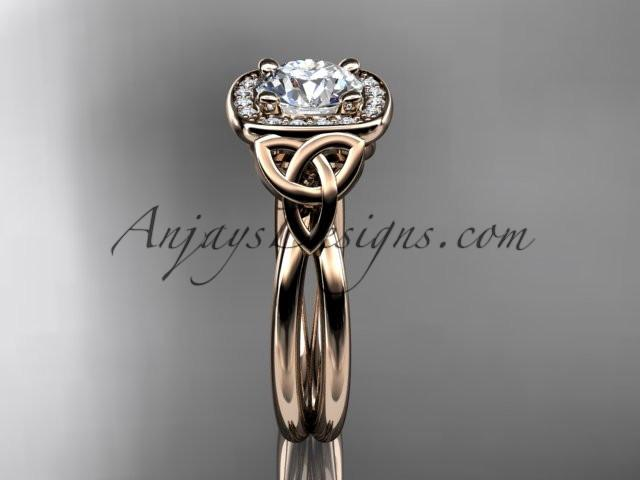 "14kt rose gold diamond celtic trinity knot wedding ring, engagement ring with a ""Forever One"" Moissanite center stone CT7330 - AnjaysDesigns"