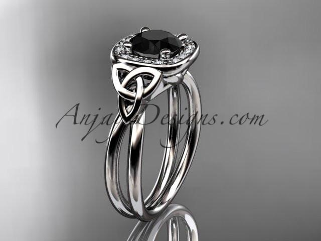 platinum diamond celtic trinity knot wedding ring, engagement ring with a Black Diamond center stone CT7330 - AnjaysDesigns