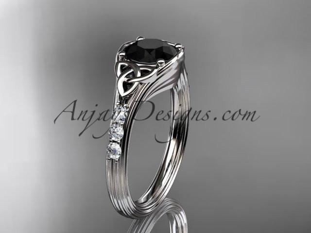 platinum diamond celtic trinity knot wedding ring, engagement ring with a Black Diamond center stone CT7333 - AnjaysDesigns