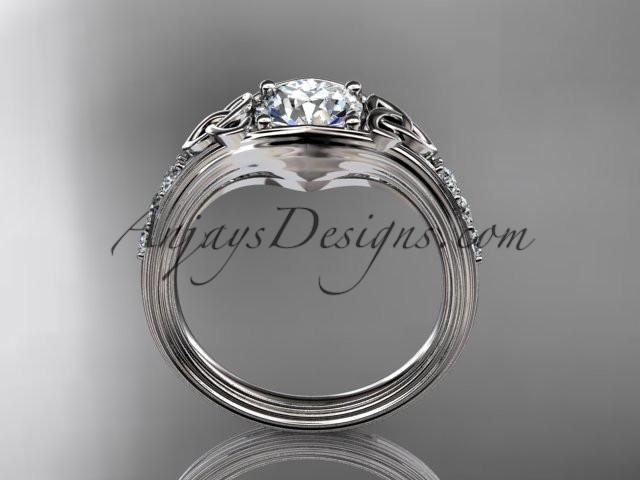 "14kt white gold diamond celtic trinity knot wedding ring, engagement ring with a ""Forever One"" Moissanite center stone CT7333 - AnjaysDesigns"