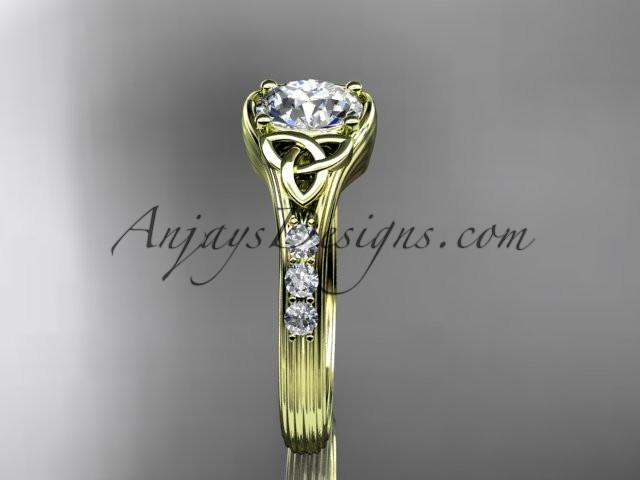 "14kt yellow gold diamond celtic trinity knot wedding ring, engagement ring with a ""Forever One"" Moissanite center stone CT7333 - AnjaysDesigns"