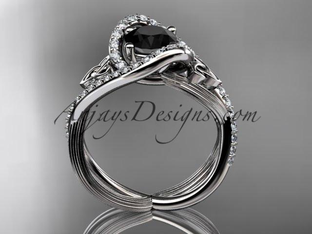 platinum diamond celtic trinity knot wedding ring, engagement ring with a Black Diamond center stone CT7369 - AnjaysDesigns