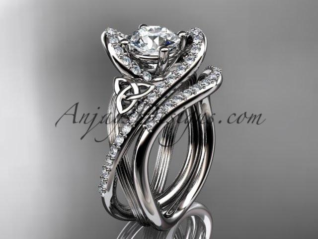 "platinum diamond celtic trinity knot wedding ring, engagement set with a ""Forever One"" Moissanite center stone CT7369S - AnjaysDesigns"