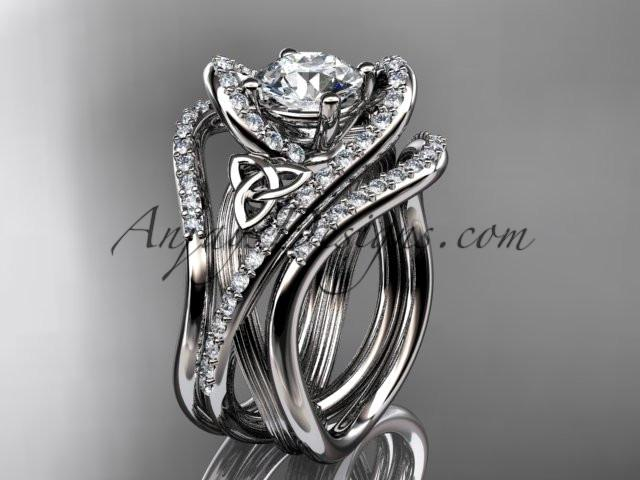 "platinum diamond celtic trinity knot wedding ring, engagement ring with a ""Forever One"" Moissanite center stone and double matching band CT7369S - AnjaysDesigns"