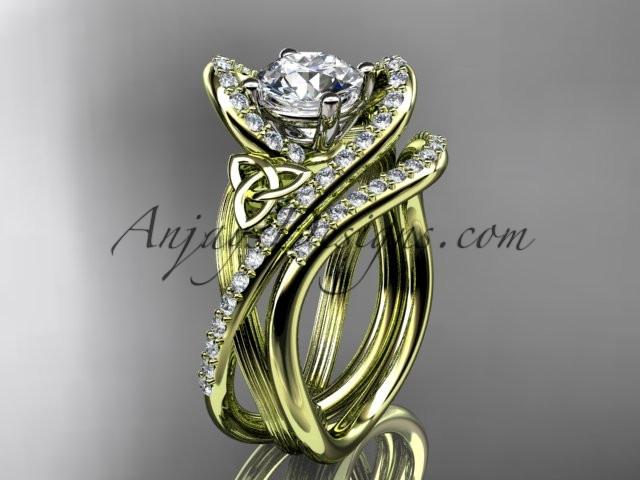 "14kt yellow gold diamond celtic trinity knot wedding ring, engagement set with a ""Forever One"" Moissanite center stone CT7369S - AnjaysDesigns"