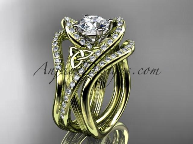 "14kt yellow gold diamond celtic trinity knot wedding ring, engagement ring with a ""Forever One"" Moissanite center stone and double matching band CT7369S - AnjaysDesigns"