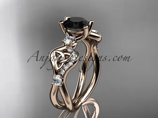 14kt rose gold celtic trinity knot engagement ring, wedding ring with a Black Diamond center stone CT768 - AnjaysDesigns