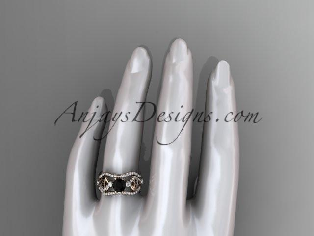 14kt rose gold celtic trinity knot engagement ring, wedding ring with a Black Diamond center stone and double matching band CT768S - AnjaysDesigns