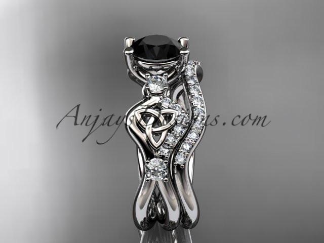 platinum celtic trinity knot engagement set, wedding ring with a Black Diamond center stone CT768S - AnjaysDesigns