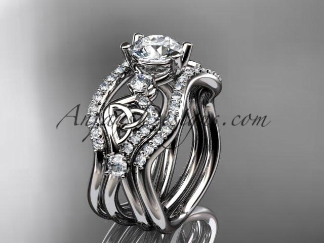"platinum celtic trinity knot engagement ring, wedding ring with a ""Forever One"" Moissanite center stone and double matching band CT768S - AnjaysDesigns"