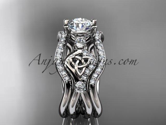 14kt white gold celtic trinity knot engagement ring, wedding ring with double matching band CT768S - AnjaysDesigns
